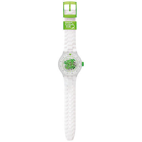 Buy Swatch SUUK100 Unisex Chlorofish Silicone Strap Watch, White Online at johnlewis.com