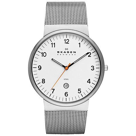 Buy Skagen SKW6025 Men's Klassic Three-Hand Date Mesh Strap Watch, Silver / White Online at johnlewis.com