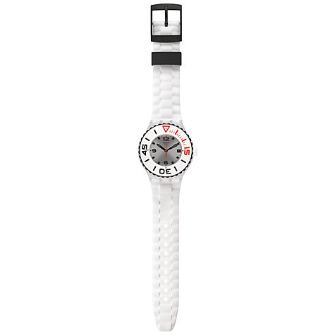 Buy Swatch SUUK401 Unisex Blanca Silicone Strap Watch, White Online at johnlewis.com