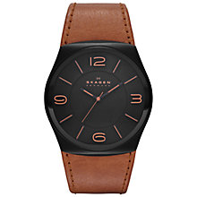 Buy Skagen SKW6040 Men's Leather Strap Watch, Tan Online at johnlewis.com
