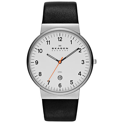 Buy Skagen SKW6024 Men's Klassic Leather Strap Watch, Silver / Black Online at johnlewis.com