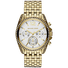 Buy Michael Kors MK5835 Stainless Steel Crystal Trim Chronograph Watch, Gold Online at johnlewis.com