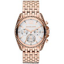 Buy Michael Kors MK5836 Women's Stone Set Chronograph Watch, Rose Gold Online at johnlewis.com