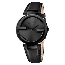 Buy Gucci YA133302 Women's Interlocking G Leather Strap Watch, Black PVD Online at johnlewis.com