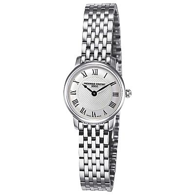Frédérique Constant FC-200MCS6B Women's Slim Line Mini Bracelet Strap Watch, Silver/White