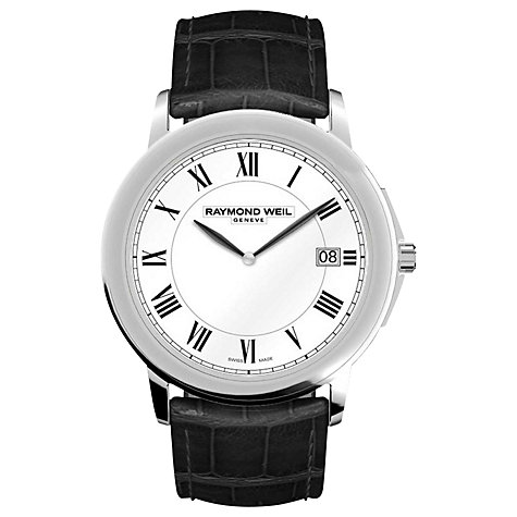Buy Raymond Weil 5466-STC-00300 Men's Stainless Steel Leather Strap Watch, Black Online at johnlewis.com