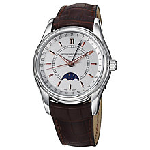 Buy Frédérique Constant FC-330B6B6 Men's Classics Moontimer Leather Strap Watch, Silver / Brown Online at johnlewis.com