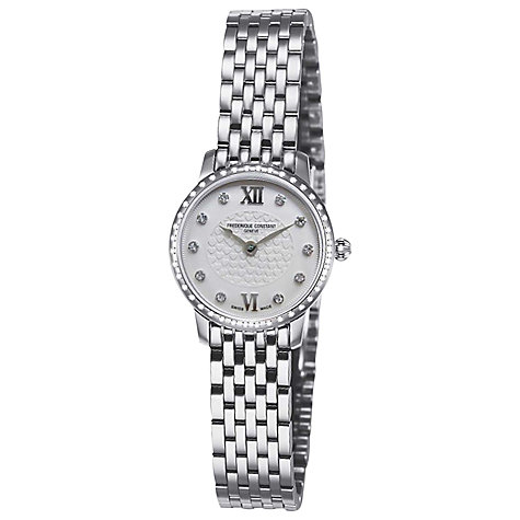 Buy Frederique Constant FC-200WHDSD6B Women's Slim Line Mini Silver Bracelet Strap Watch Online at johnlewis.com