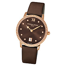 Buy Frédérique Constant FC-220C4SD34 Women's Slim Line Joaillerie Satin Strap Watch Online at johnlewis.com