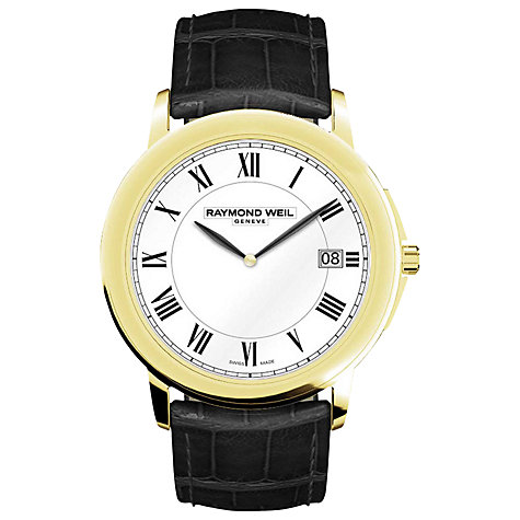 Buy Raymond Weil 5466-PC-00300 Tradition Men's Leather Strap Watch, Black / Gold Online at johnlewis.com