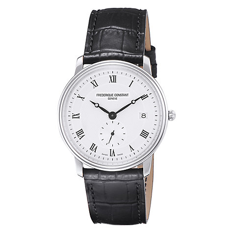 Buy Frederique Constant FC-245M4S6 Men's Slim Line Black Leather Strap Watch Online at johnlewis.com