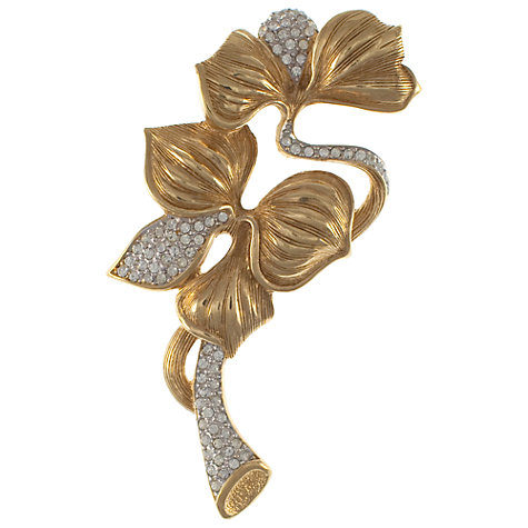 Buy Eclectica 1980s Grosse Floral Crystal Detail Brooch, Gold Online at johnlewis.com