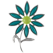 Buy Eclectica Vintage 1960s Sarah Coventry Chrome Plated Plastic Flower Brooch, Green Online at johnlewis.com