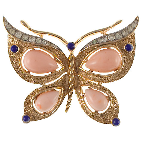 Buy Eclectica 1960s Trifari Butterfly Glass and Plastic Detail Brooch, Gold Online at johnlewis.com