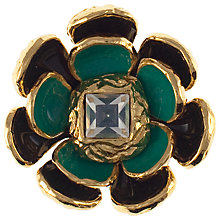 Buy Eclectica 1970s Yves Saint Laurent Enamel Flower Brooch, Green Online at johnlewis.com