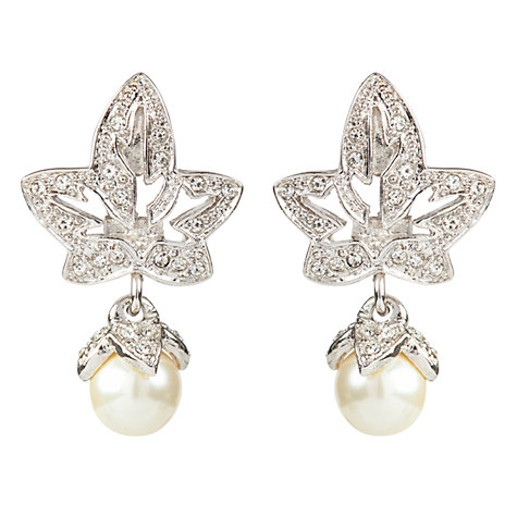 Buy Susan Caplan Vintage Bridal 1990s Dior Fuax Pearl Drop Earrings, Silver Online at johnlewis.com