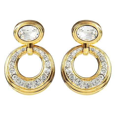 Buy Susan Caplan Vintage Bridal 1990s Swarovski Crystal Hoop Drop Earrings, Gold Online at johnlewis.com