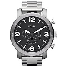 Buy Fossil JR1353 Men's Nate Brushed Steel Large Chronograph Watch, Silver Online at johnlewis.com