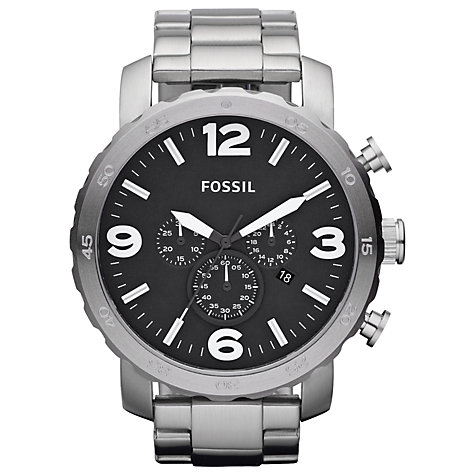 Buy Fossil Men's Nate Stainless Steel Large Chronograph Watch Online at johnlewis.com