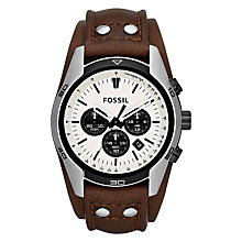 Buy Fossil CH2890 Men's Coachman Chronograph Leather Cuff Watch, Brown Online at johnlewis.com