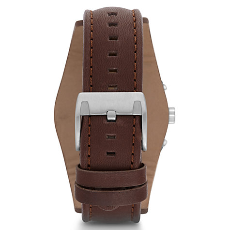 Buy Fossil CH2891 Men's Coachman Chronograph Leather Strap Watch, Brown/Black Online at johnlewis.com