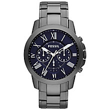 Buy Fossil FS4831 Men's Grant Stainless Steel Chronograph Watch, Blue / Smoke Online at johnlewis.com