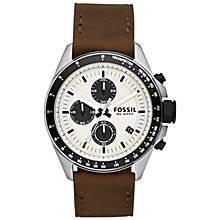 Buy Fossil CH2882 Men's Decker Stainless Steel Leather Strap Watch, Brown Online at johnlewis.com