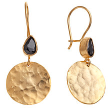 Buy Ottoman Hands Hammered Disc Teardrop Earrings, Onyx Online at johnlewis.com