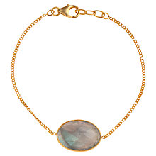 Buy Ottoman Hands 21ct Gold Vermeil Oval Stone Chain Bracelet Online at johnlewis.com