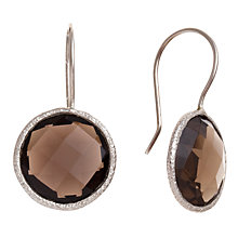 Buy Ottoman Hands Round Stone Sterling Silver Drop Earrings, Smoky Quartz Online at johnlewis.com