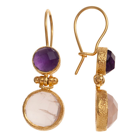 Buy Ottoman Hands Double Stone Hook Drop Earrings, Pink Quartz / Amethyst Online at johnlewis.com