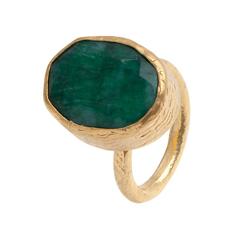 Buy Ottoman Hands 21ct Gold Plated Oval Ring, Jade Online at johnlewis.com