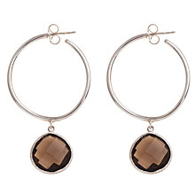 Buy Ottoman Hands Sterling Silver Hoop Drop Earrings, Smoky Quartz Online at johnlewis.com