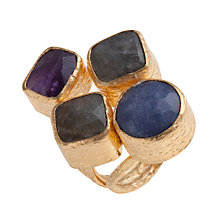 Buy Ottoman Hands 21ct Gold Plated Four Stone Statement Ring, Multi Online at johnlewis.com