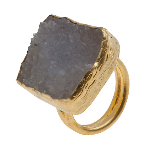 Buy Ottoman Hands 21ct Gold Plated Rough Chalcedony Ring Online at johnlewis.com