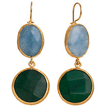 Buy Ottoman Hands 2 Stone Large Drop Earrings, Blue / Green Agate Online at johnlewis.com