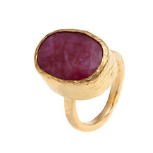 Buy Ottoman Hands Oval Adjustable Ring, Ruby Online at johnlewis.com