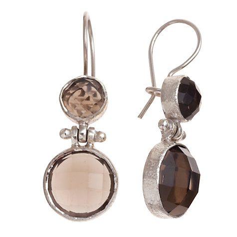 Buy Ottoman hands Double Stone Sterling Silver Drop Earrings Online at johnlewis.com