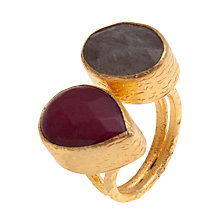 Buy Ottoman Hands 21ct Gold Plated Double Stone Teardrop Ring, Labradorite / Ruby Online at johnlewis.com