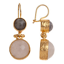 Buy Ottoman Hands Double Stone Drop Earrings, Grey Labradorite / White Agate Online at johnlewis.com