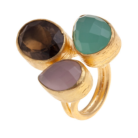 Buy Ottoman Hands 21ct Gold Plated Triple Stone Teardrop Ring, Quartz / Aquamarine Online at johnlewis.com