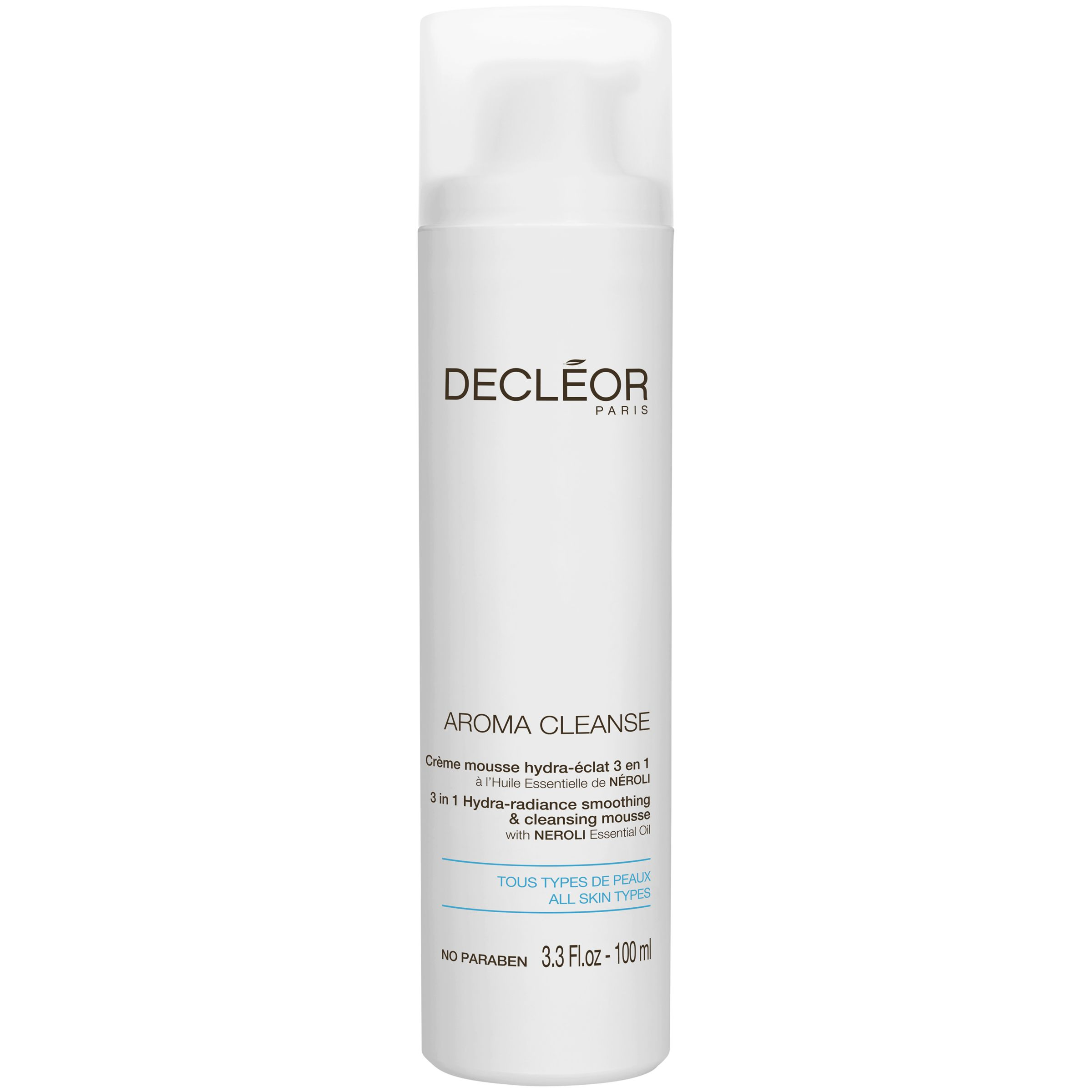 DECLÉOR AROMA CLEANSE 3 in 1 Hydra-radiance smoothing & cleansing mousse with NEROLI Essential Oil 100ml
