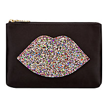 Buy Lulu Guinness Glitter Lip Zip Pouch Purse, Black Online at johnlewis.com