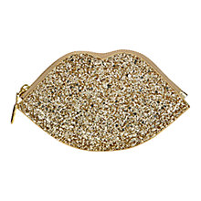 Buy Lulu Guinness Glitter Lip Coin Purse, Gold Online at johnlewis.com