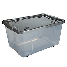 Buy John Lewis Wheeled Clear Plastic Storage Box, 45L Online at johnlewis.com