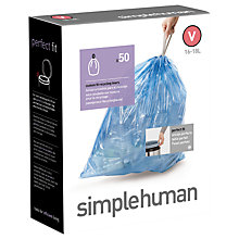 Buy simplehuman Size V 16-18L Bin Liners, Pack of 50 Online at johnlewis.com