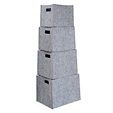 Buy House by John Lewis Felt Storage Boxes, Set of 4, Grey Online at johnlewis.com