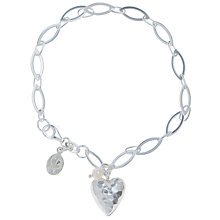Buy Claudia Bradby Exclusive Textured Heart Charm Bracelet, Silver Online at johnlewis.com