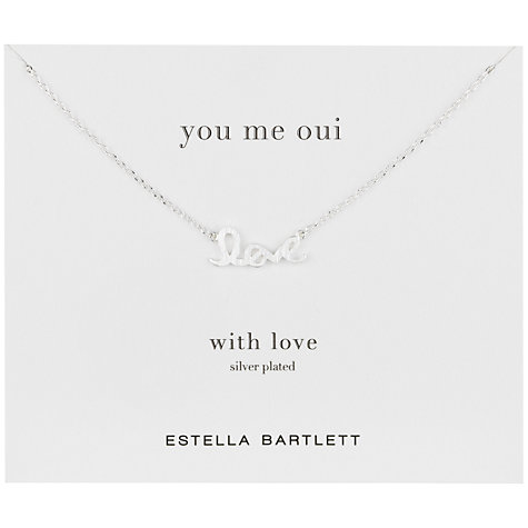Buy Estella Bartlett You Me Oui Love Pendant, Silver Online at johnlewis.com