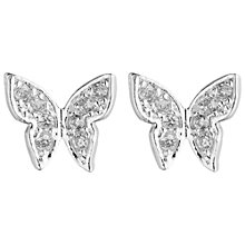 Buy Estella Bartlett Silver Plated Cubic Zirconia Butterfly Earrings Online at johnlewis.com